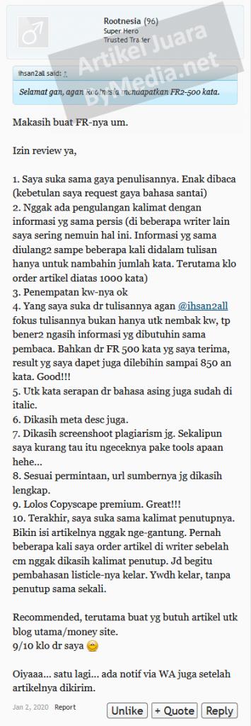Testimoni Artikel Juara FR lapak Rootnesia