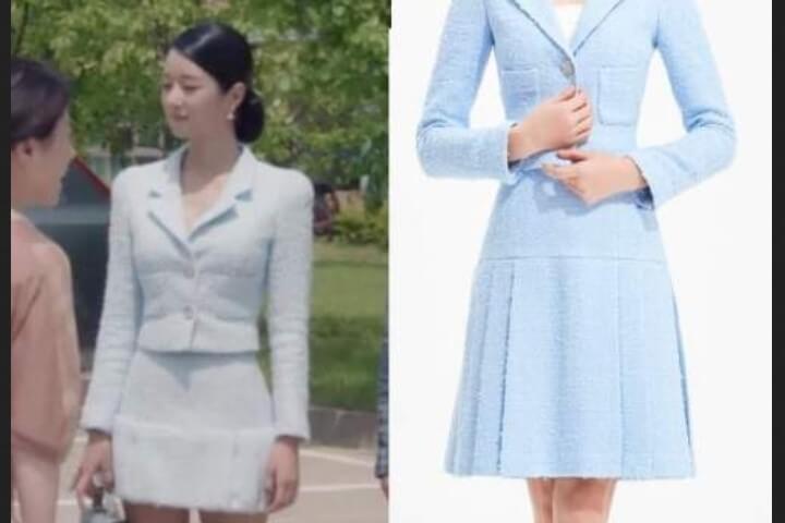 Baju kerja Korea ala drama It is Okay to Not be Okay - outfit biru saat di rumah sakit