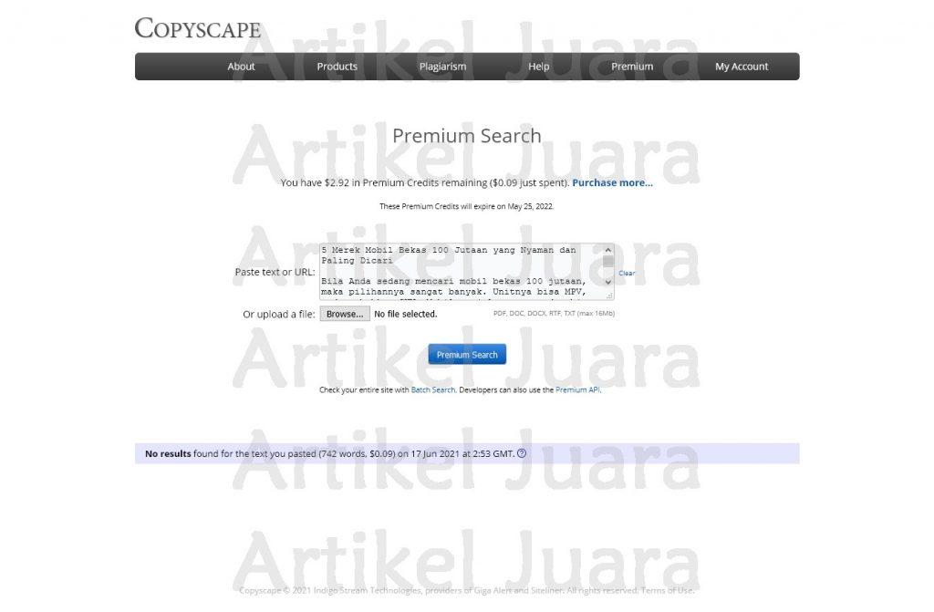 Screenshot 2021 06 17 Copyscape Premium Search Otomotif 700 kata mobil bekas 100 jutaan