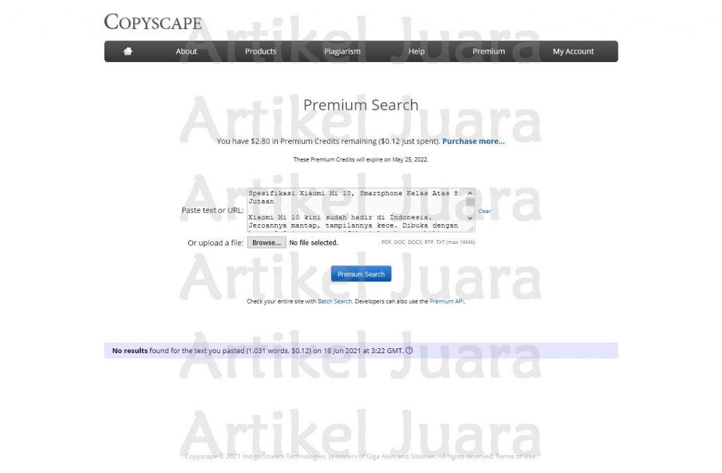 Screenshot 2021 06 18 Copyscape Premium Search Teknologi 1000kata xiaomi mi 10